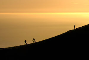 Berg Lauf Sonnenuntergang