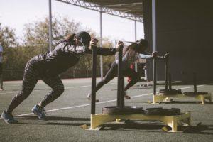 Hard workout Pushing weights